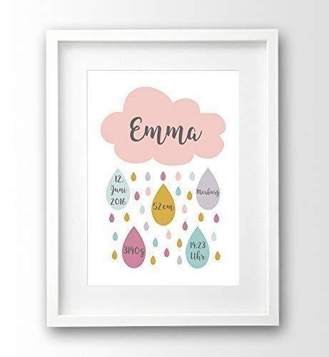 Geburtsanzeige Personalisiert A4 Ohne Rahmen Wolke Rosa Geschenk Geburt Taufe Mädchen Geburtsdruck