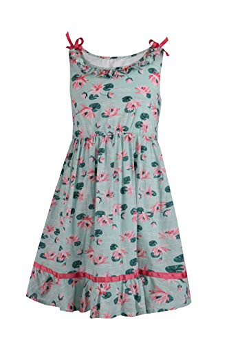Emma Riley Girl's Summer Cotton Floral Dress Sleeveless Dress Casual Sundress, Lotus 8