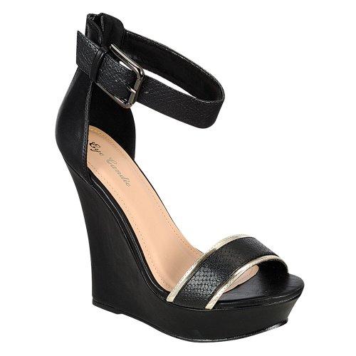 Eye Candie Womens Citygal-503 Fashion Wedge Sandals Black wUIWpO