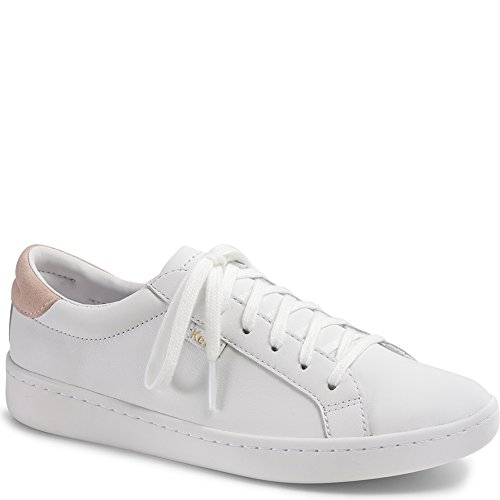 Keds Women's Ace Leather Fashion Sneaker, White/Blush, 7 M US by Keds