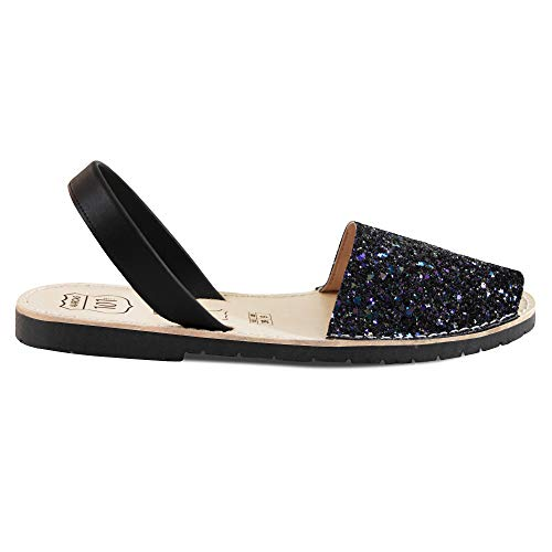 Avarcas Sandals for Women - Handmade in Spain with Natural Leather- Slip on/Slingback Flats (US 8 (EU 38), Petrol - Women Shoe Handmade Flat