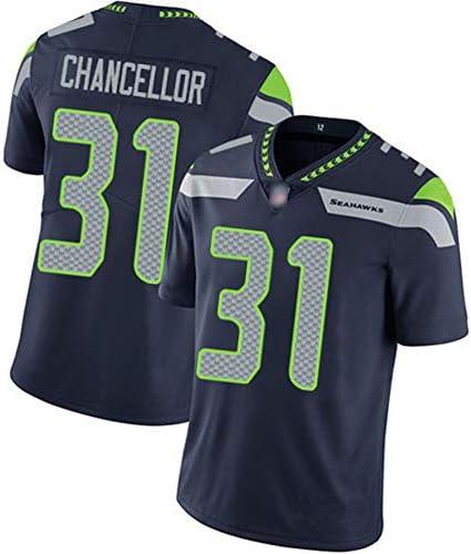 bordado de f/útbol americano NCNC # 31 Seahawks Chancellor playera de rugby para hombre edici/ón de fan/ático