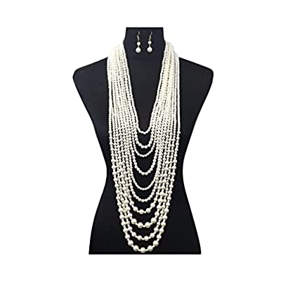 Cheap Women\'s Ten Multi-Strand Simulated Pearl Statement Necklace and Earrings Set in Cream Color s3ATGlON