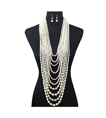 - Fashion 21 Women's Ten Multi-Strand Simulated Pearl Statement Necklace and Earrings Set in Cream Color
