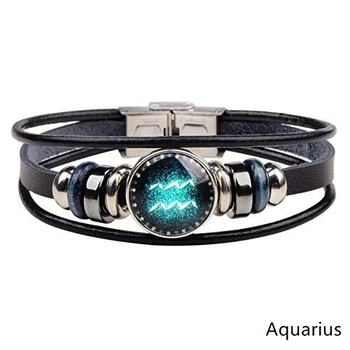 ESCYQ Mens Bracelets Bracelet,12 Constellations Bracelet Fashion Jewelry Leather Aquarius Bracelet Men Casual Personality Zodiac Signs Punk Bracelet