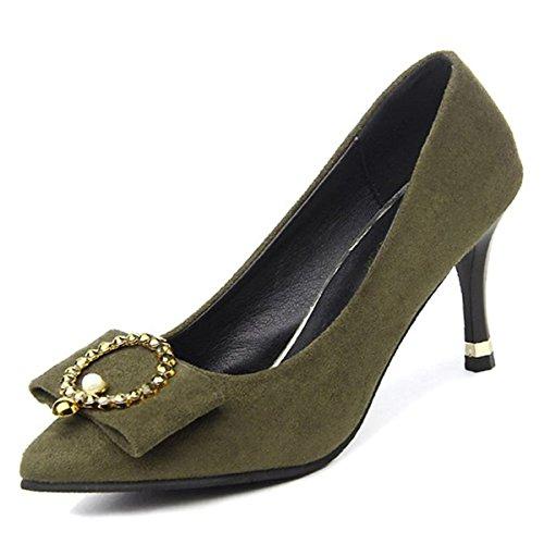 DIMAOL Chaussures Femmes de Réconfort Printemps Automne en Caoutchouc Talon Bas Talons Chaussures Pour L'Extérieur de L'Armée d'Amande Vert Noir,Vert Militaire,US5.5/EU36/UK3.5/CN35