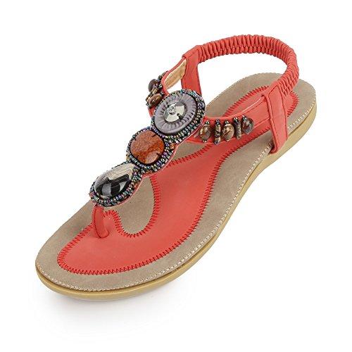 e4b69524dab SIKETU Zicac Women s T Strap Sling Back Bohemian Beaded Flat Beach Thong  Sandals(6