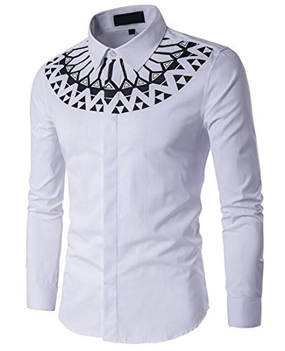 Beautifullight Cool,Handsom Men's Casual Dress Cotton Pattern Print Long Sleeve Shirts WhiteUS-3XL Hot and Fashion (And Lace Leather Hampshire New)
