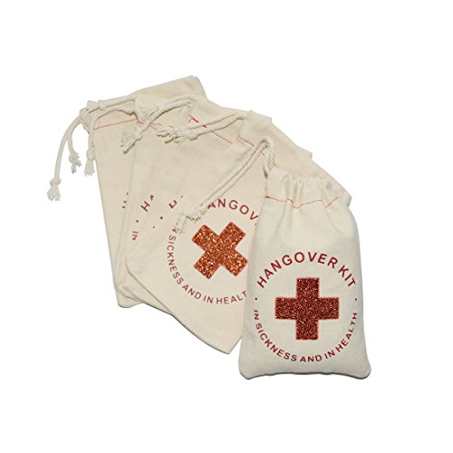 FOONEA 10pcs Cotton Muslin Party Favor Wedding Bag 4x6 inch Red Glitter Cross Bachelorette Hangover Kit Bags Cotton Muslin Drawstring Bag Recovery Bag