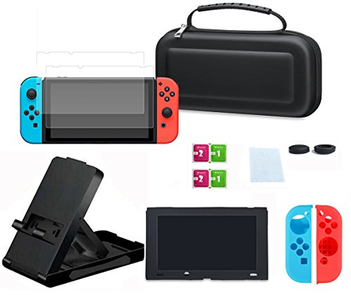Rikuzo All in One Nintedo Switch Accessories Starter Kit,With Case+ 2 Tempered Glass Screen Protector+Silicone Case for Joy-con and Console and Thumb Grips Caps+Screen - Super Switch Starter
