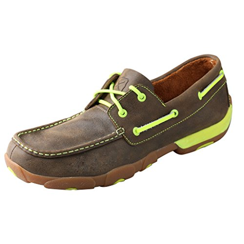 Twisted X Men's Driving Moccasins Bomber/Neon Yellow - Casual Walking Leather Footwear 11D ()