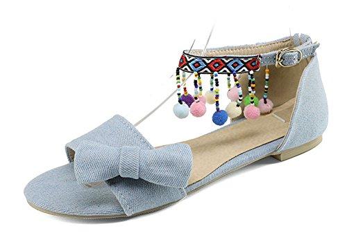 Ciondoli Ricamati Donna Easemax Cinturino Con Fibbia Alla Caviglia Piatta Sulla Punta Aperta Sandali Trendy Con Fiocchi Blu Chiaro
