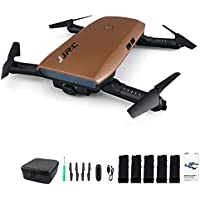 JJRC H47 Elfie WIFI Foldable Pocket FPV Drone 5 Batteries Mini Quadcopter with 720P Camera (Brown 5 batteries)
