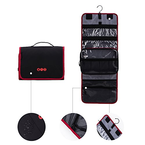 BAGSMART Hanging Travel Toiletry Bag Carry-on Makeup Organizer Folding Cosmetic Bag for Women and Men, Black + Red by BAGSMART (Image #5)