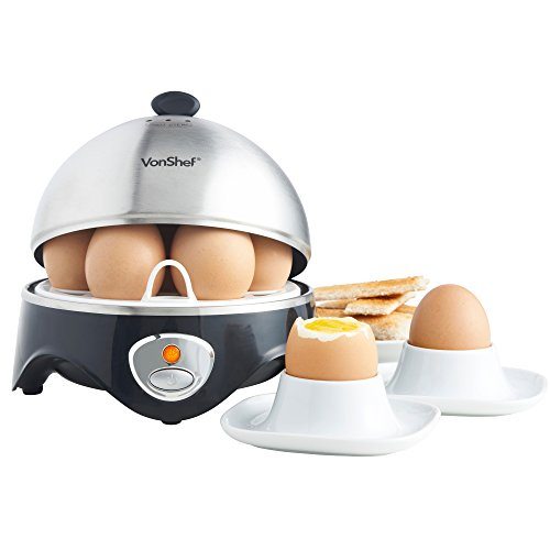 VonShef 7- Egg Electric Cooker Stainless Steel with Poacher & Steamer Attachment by VonShef (Image #5)