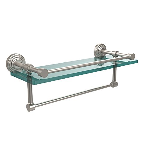 Allied Brass WP-1TB/16-GAL-SN Waverly Place Collection 16-Inch Gallery Glass Shelf with Towel Bar, Satin Nickel