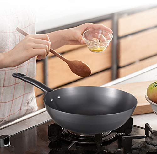 WYQSZ Wok - Cast Iron Household Uncoated Small Wok With Multifunctional Durable Wok -fry pan 2365 by WYQSZ (Image #3)