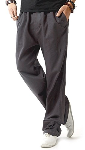 TBMPOY Men's Linen Casual Elastic Loose Fit Straight Pants Yoga Beach Summer Trousers(1 Gray,us L)