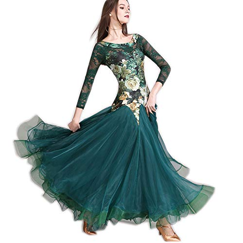 garuda 上品レディース社交ダンス衣装 豪華花柄+レース袖 ボリュームダンスドレス 2色 B07NJD4BPT Small|グリーン グリーン Small