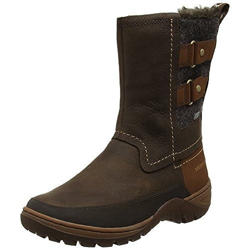 Merrell Women's Sylva Mid Buckle Waterproof Boot, Potting Soil, 7 M US