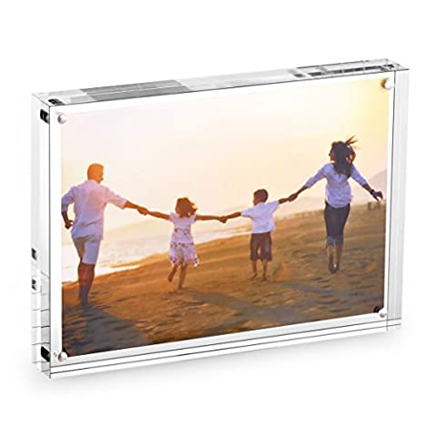 HESIN 5 by 7 inch Clear Acrylic Photo Frame Thickness 24mm ,Stable Tabletop Magnet Frame Double Sided Picture frame with Gift Box - 4x5 Magnet