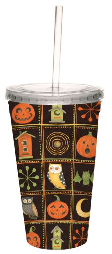 Tree-Free Greetings 80222 Owl and Pumpkin by Debbie Mumm Sampler Artful Traveler Double-Walled Cool Cup, Reusable Straw, 16-Ounce ()