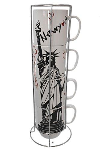 (Set Porcelain 12oz Stackable Statue of Liberty Tea Coffee Mugs with Chrome Rack)