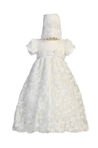 Long White Embroidered Satin Ribbon Tulle Baby Girl Christening Baptism Special Occasion Newborn Dress Gown with Matching Hat - XS (0-3 Month, 0-8 ()