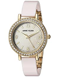 Anne Klein Women's Swarovski Crystal Accented Gold-Tone and Light Pink Ceramic Bangle Watch