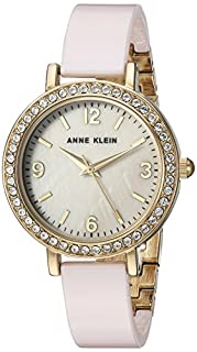 Anne Klein Women's Swarovski Crystal Accented Gold-Tone and Light Pink Ceramic Bangle Watch (B075RZ85G4) | Amazon Products
