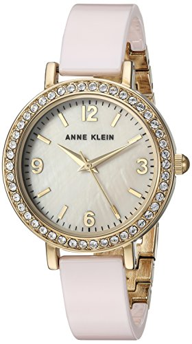 Anne Klein Women's Swarovski Crystal Accented Gold-Tone and Light Pink Ceramic Bangle Watch ()
