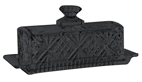 Black Covered Butter (Godinger Dublin Covered Butter Dish Crystal Glass - Full Color Black - Additional Vibrant Colors Available by TableTop King)