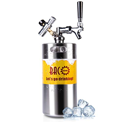 BACOENG 128 Ounce Pressurized Keg Growler, Kegerator for Home Brew Beer with Updated CO2 Regulator ()