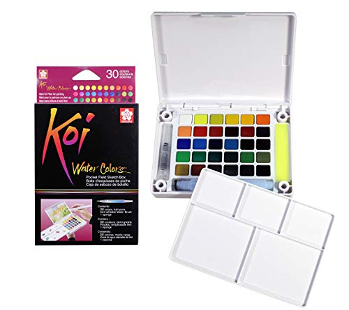 Sakura XNCW-30N Koi Field 30 Assorted Watercolors with Brush Sketch Set (Koi Stencil)