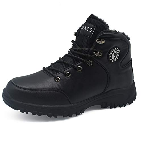 COFACE Mens Hiking Boots Leather Warm Faux Fur Lined Outdoor Work Boots Backpacking Trekking Trails Black