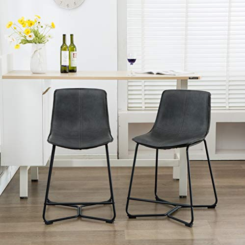 - Atlanta Lance Faux Leather Upholstered with Bucket Seat Counter Stool Set of 2, Gray