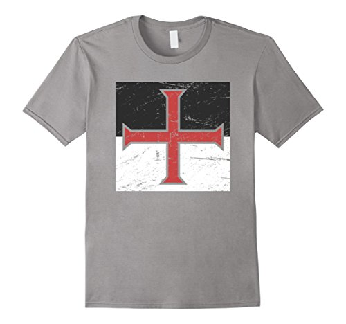 Make Knights Templar Costume (Mens Knights Templar Cross | Renaissance Festival T-Shirt 3XL Slate)