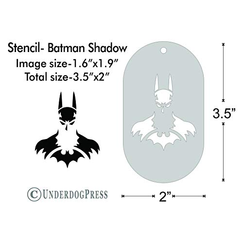 Stencil - Batman Shadow, Image Size 1.9x1.6 on 3.5x2 Border -