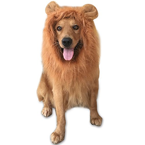 [GABOSS Lion Mane Costume for Dog, Wig for Large Pet Festival Party Fancy Hair Clothes with ear,] (Dog Lion Costume Large)
