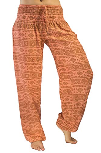 Orange Womens Sleep Pant - PI Yoga Pants Women's Petite Scrunched Bottom, Loose Comfortable Boho Athleisure Wear, (One Size, Stretches 0-12) - Orange