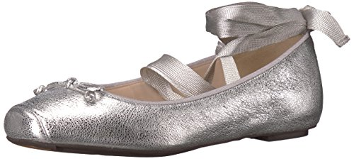 Cole Haan Women's Downtown Ballet Flat, Silver/Metallic, 9.5 B US (Metallic Leather Flats Ballet)