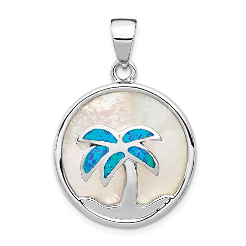 925 Sterling Silver Mop Created Opal Inlay Palm Tree Pendant Charm Necklace Sea Shore Fine Jewelry Gifts For Women For Her