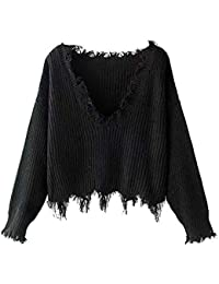 Women's Solid V Neck Loose Sweater Long Sleeve Ripped Jumper Pullover Knitted Crop Top