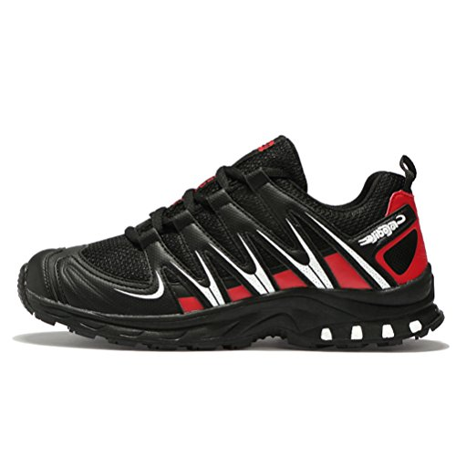 JEDVOO Chaussures de Running Randonnée Sport-Basketball Homme Rouge w38sa8