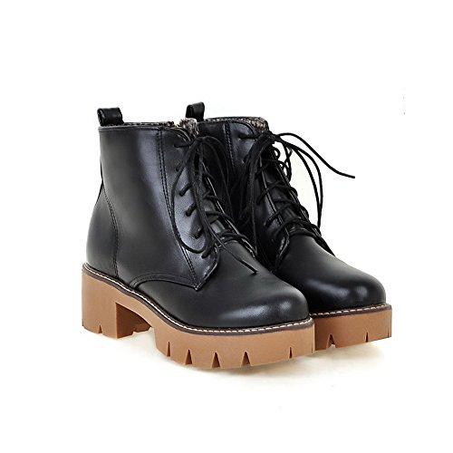 Balamasa Dames Bandage Chunky Heels Platform Geïmiteerd Leren Laarzen Zwart