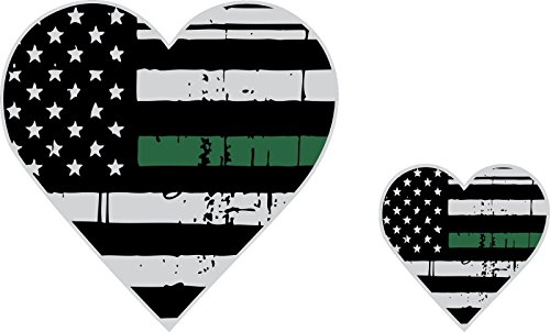 Magnet Tattered Army Wife/Army Girlfriend Thin Green Line Heart Flag Decal Magnet x2