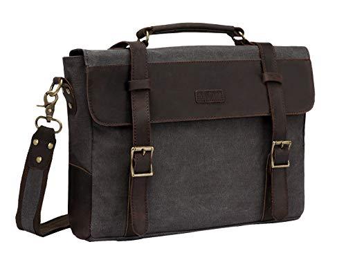 Vaschy Vintage Canvas Leather Messenger Bag School Shoulder Bag Business Briefcase Satchel Gray