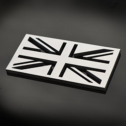 Stainless Steel England GB Great Britain UK United Kingdom Union Jack Metal Decorative Emblem Decal Ornament Crest Blasted, Mirror Polished, or Black 3