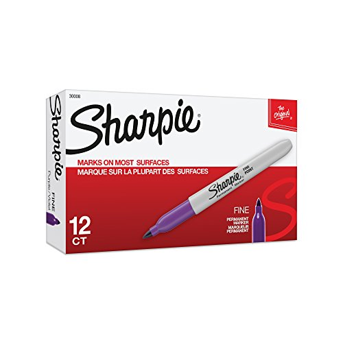- Sharpie Permanent Markers, Fine Point, Purple, 12-Pack (30008)