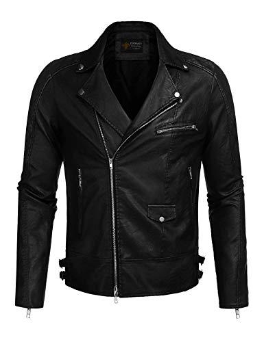 COOFANDY Men's Police Style PU Leather Motorcycle Zipper Biker Jacket,Black,XX-Large